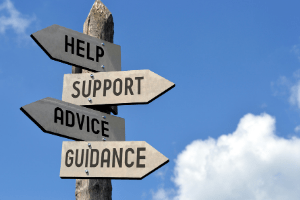 directional guidepost offering  help, support, advice and guidance