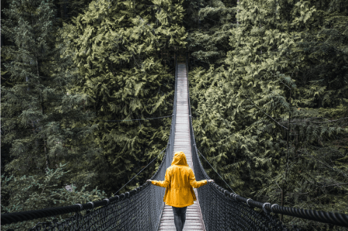woman in yellow coat crossing a hanging bridge with hands on the rope siding