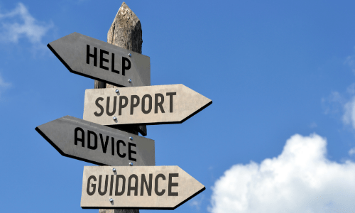 Sign post pointing in various directions for Help, Support, Advice and Guidance